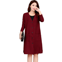 New 2017 Autumn Winter Women Plus Size 4XL 5XL Long Loose Knitted Cardigan Coat Women Pull
