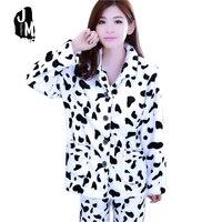Осень-зима Для женщин пижамы Длинная утепленная пижамный комплект пижама из кораллового флиса для Для женщин отложной воротник комплект из...