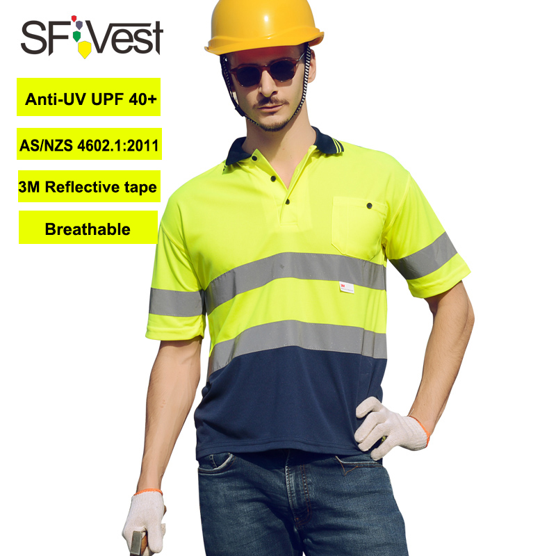 SFvest safety work shirt reflective for men High visibility workwear short sleeve polo shirt free shipping