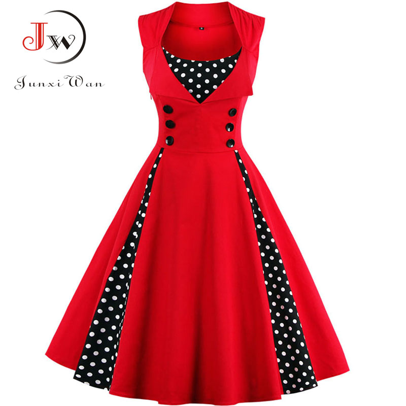 S-4XL Women Robe Retro Vintage Dress 50s 60s Rockabilly Dot Swing Pin Up Summer Party Dresses Elegant Tunic Vestidos Casual(China)