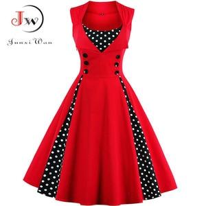 S-4XL Women Robe Retro Vintage Dress 50s 60s Rockabilly Dot Swing Pin Up Summer Party Dresses Elegant Tunic Vestidos Casual(China)