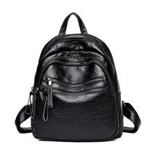 2017 Новый Повседневная Женщины Рюкзак Девушки ИСКУССТВЕННАЯ Кожа Опрятный Стиль школьные рюкзаки для подростков женщины малый сумка черный back F93