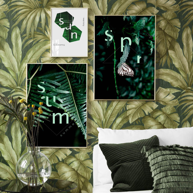 Geometric Fresh Green Leaf Butterfly Nordic Posters 1