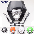GOOFIT Универсальный 12 В 35 Вт 4 цвет черный Мотоцикл Байк Мотокросс Supermoto Водонепроницаемый фар exc ktm Обтекателя E033-770
