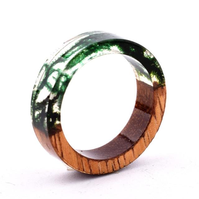 Handmade Flowers Wood Resin Ring33