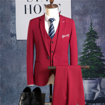 Men's suit spring and autumn new solid color slim men's suit three-piece suit (jacket + pants + vest) men's business formal suit