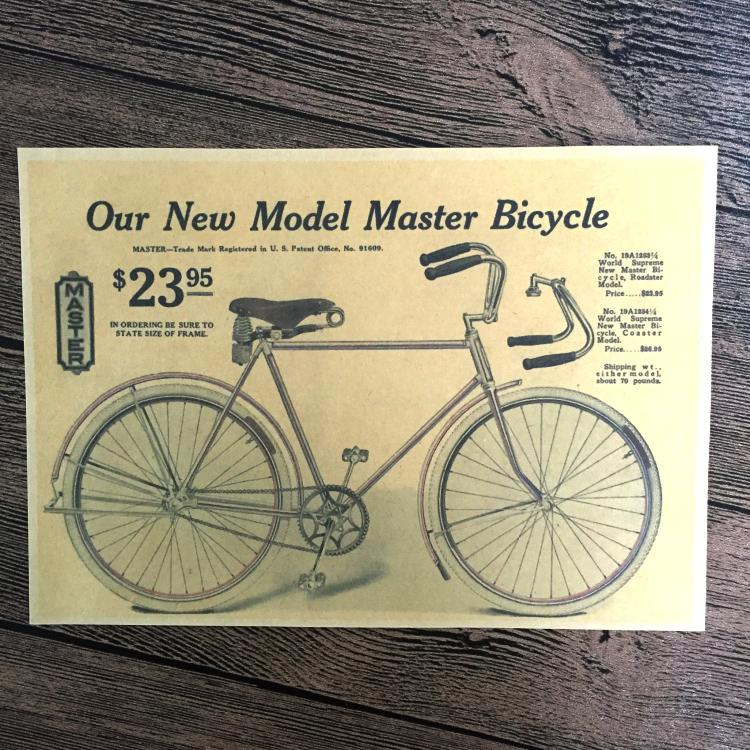 Retro Old Bike Bicycle Paint Kraft Paper Poster Vintage Living Room ...