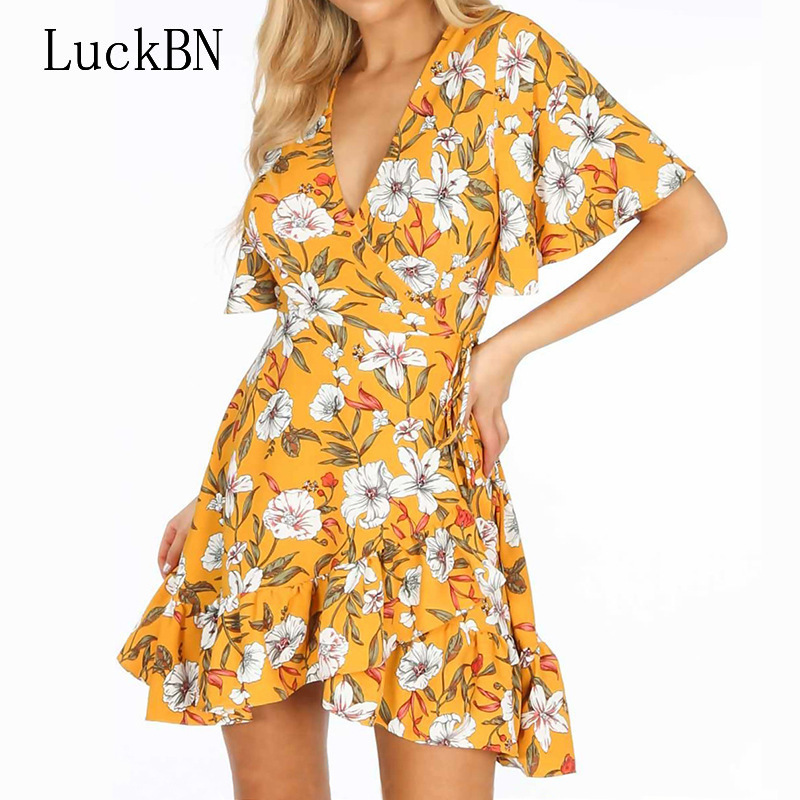 Brand Sexy Deep V neck Summer Dress Women Boho Floral Print Dress Elegant Ruffle Short Sleeve Mini Beach Dress Party Robe Female in Dresses from Women 39 s Clothing
