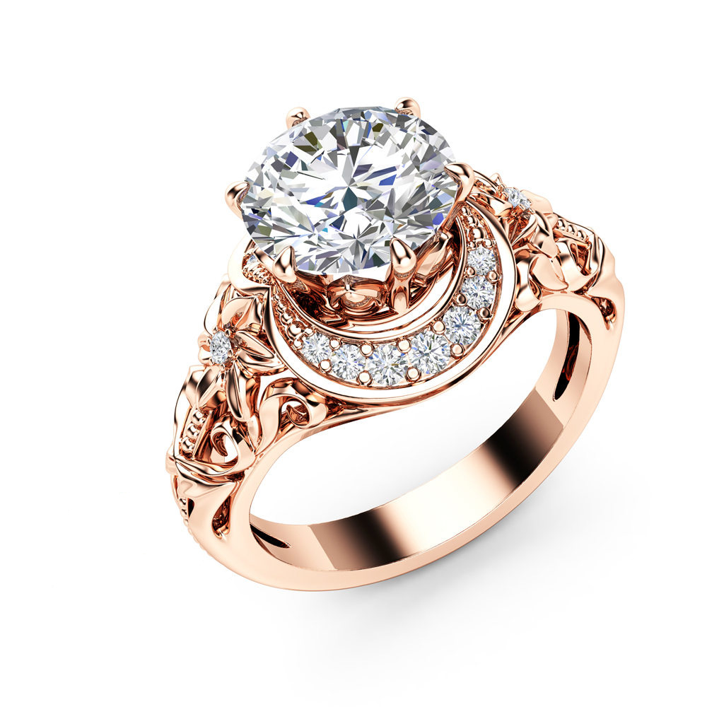 Luxury Big Cubic Zirconia Wedding Rings For Women Rose Gold Color Shining Austrian Crystal Moon Finger Ring Ladys Anillo Jewelry