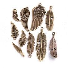 10 pçs/lote metal de bronze do vintage pequenas asas & pena encantos para fazer jóias diy liga zinco mix asas pena pingente