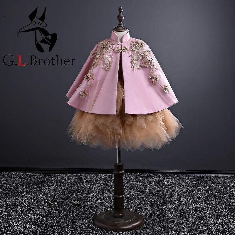 Здесь можно купить  Birthday Party First Communion Princess Girls Dress Emboridery Elegant Kids Ball Gown Dresses Catwalk Banquet Mesh Vestidos S266  Детские товары