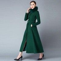 2019 зима лисий меховой воротник теплый шерстяной Пыльник пальто полный длинный Стенд воротник классическое пальто женское Шерстяное пальто