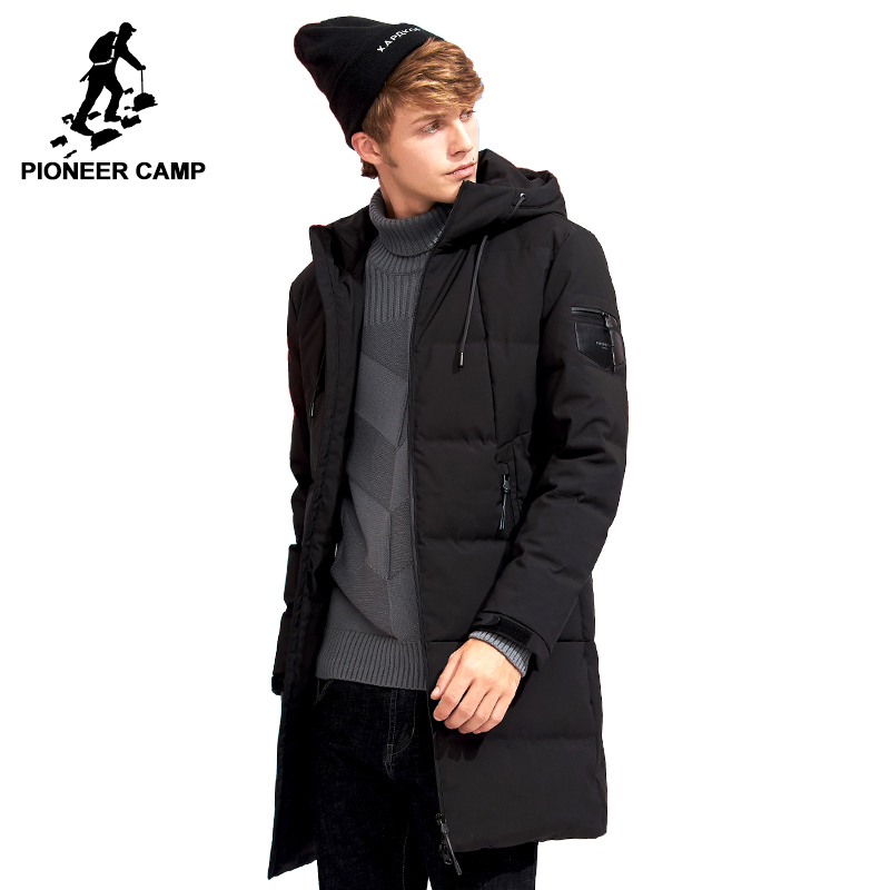 Pioneer Camp fashion winter hooded men down jacket brand-clothing thicken warm duck down coat male army green black AYR705308