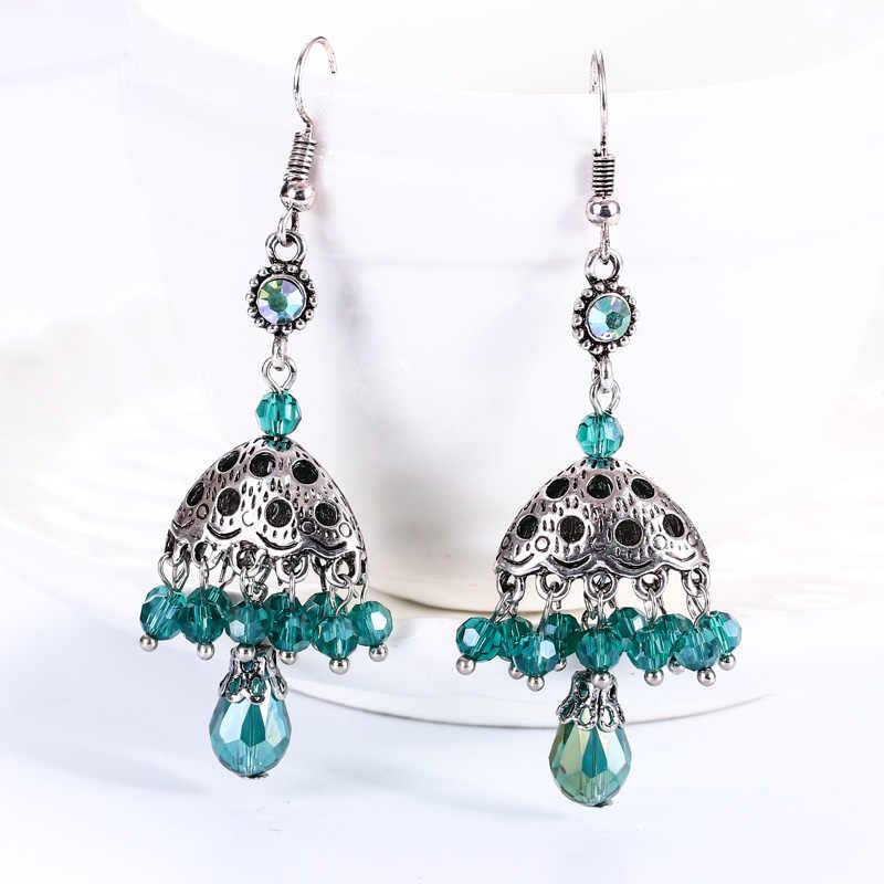 Vintage Geometric Rhinestone Crystal Tassel Earrings For Women Bohemian Alloy Bell Dangle Statement Earrings Boho Jewelry