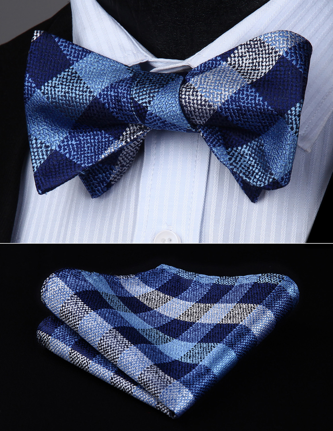 Bow Tie Handkerchief Set BC809BS Naby Blue Check & Plaid Bowtie Men Butterfly Silk  Self