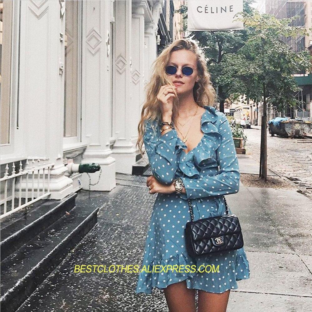 Blue Longues Soie 100 Wrap Polka Manches À Robe dot Sky V Volants Alexandra Femmes Le Mini Imprimé poussiéreux Bleu De cou 1BxwBq0R