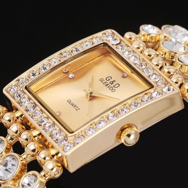 100% Real New Luxury Brand G&D Quartz Watch Women Steel Bracelet Watch waterproo