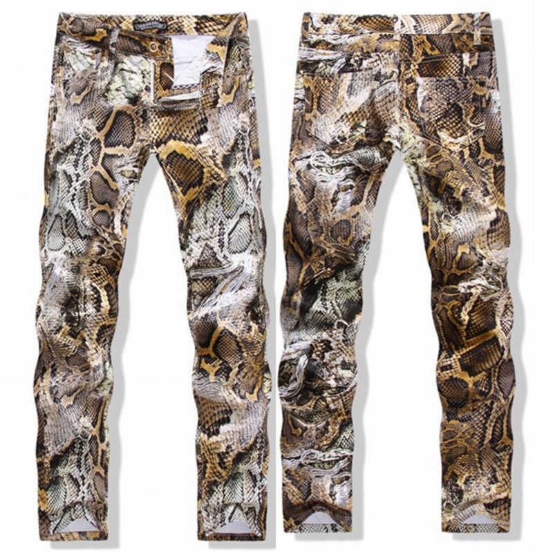 Хип хоп принт змеиной кожи джинсовые брюки для мужчин Slim Fit стрейч уличная мужская повседневная питона печатных брюки для мужчин одежда J0435