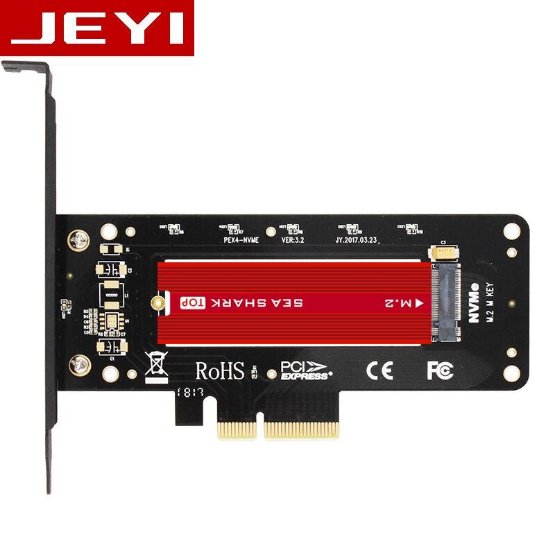 JEYI VolleyStar-Plus Heat sink heatsink M.2 NVMe SSD NGFF TO PCIE X4 adapter MKey interface card Suppor PCI-E 3.0 x4 full speed