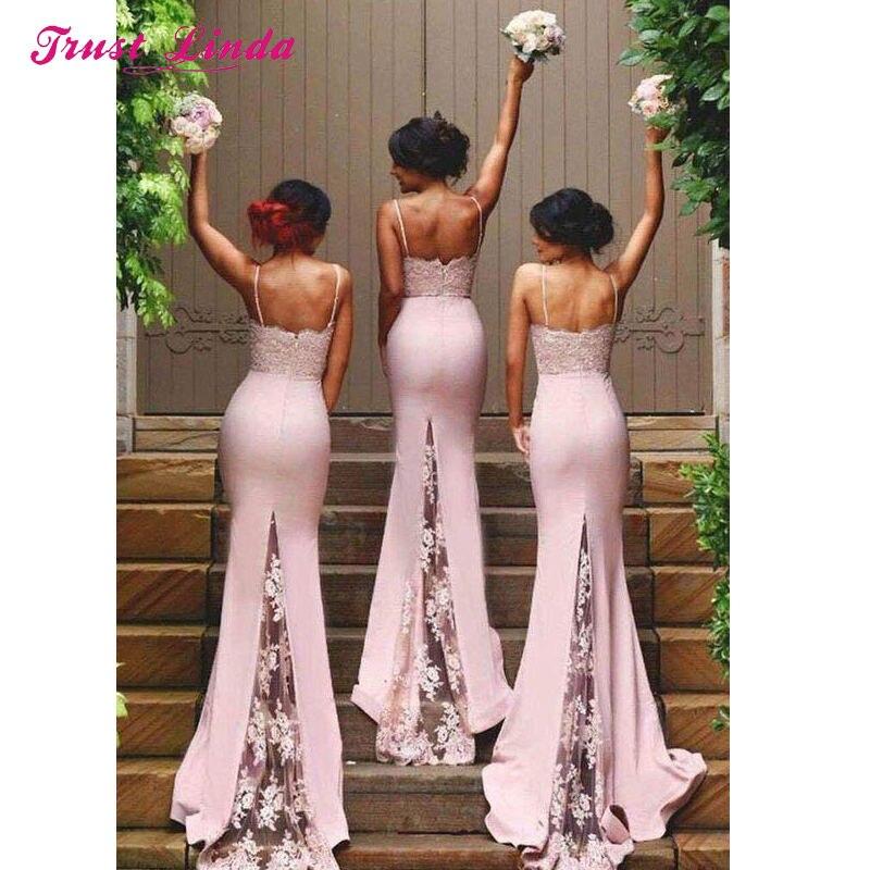 06b2e24f77e New Blush Pink Dress Lace Bridesmaid Gown Spaghetti Straps Floor Length  Appliques Mermaid Peach Bridesmaid Dress