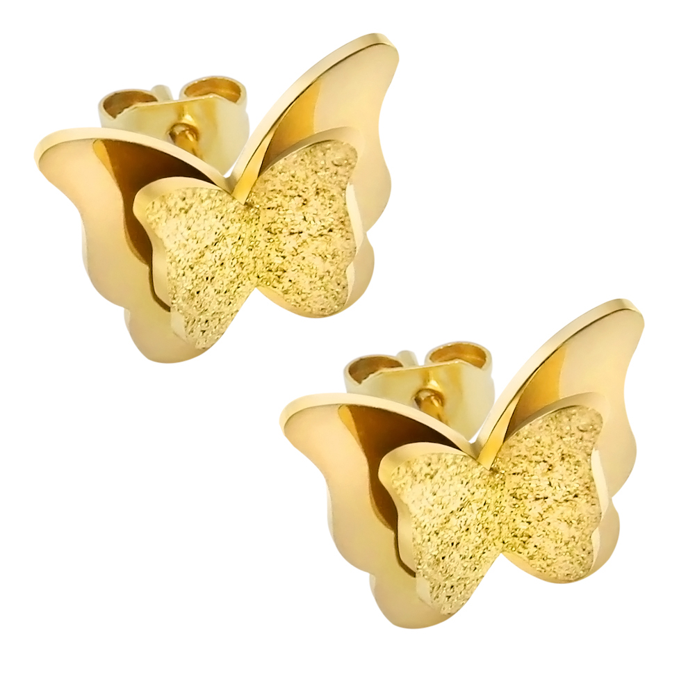 1 Pair Beautiful Earrings Stud Butterfly Design 3 Colors Stainless Steel Ear Studs Piercing Jewelry For Wedding Party Women Gift