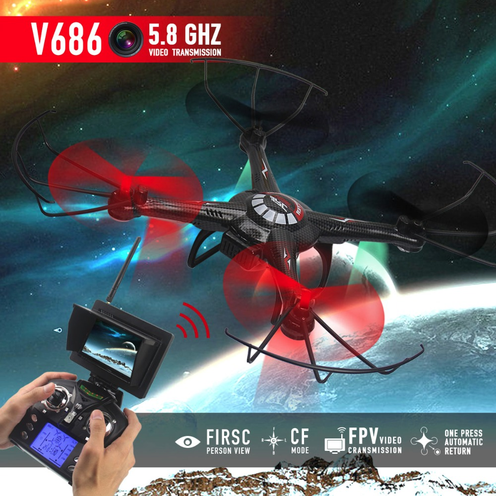 JJRC V686 FPV Drone With Camera Headless Mode WiFi RC Helicopter Quadcopter 5.8GHz and V686 No Camera drone with Gift+1 battery  high quqlity jjrc v686 5 8g fpv headless mode rc quadcopter with hd camera monitor gift for children toys wholesale