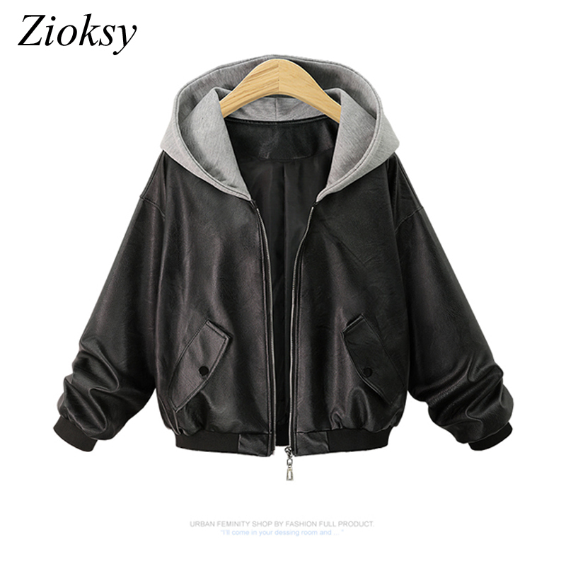 Zioksy 2017 Autumn Winter Women PU   Leather   Jacket Hooded Casual Jackets Long Sleeve Fashion Short Coat Blouson Femme