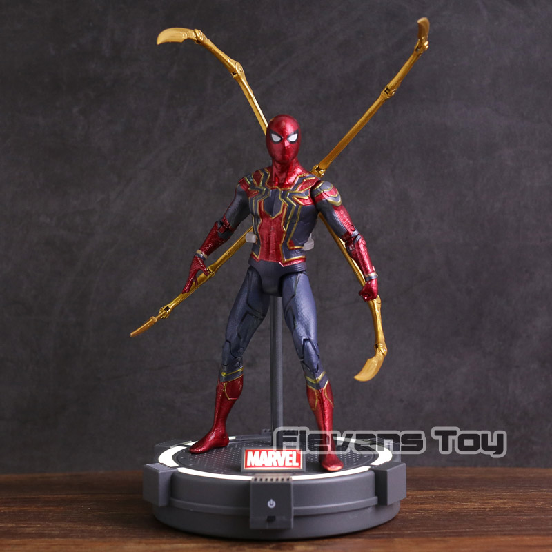 Marvel Avengers Infinity War Iron Spider with LED Light PVC Action Figure Collectible Model Toy