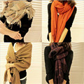190*60 cm 2016 de La Moda Elegante a cuadros Borla bufandas mujeres chal bufandas de invierno espesar cálido chal de cachemira ultra larga envuelve