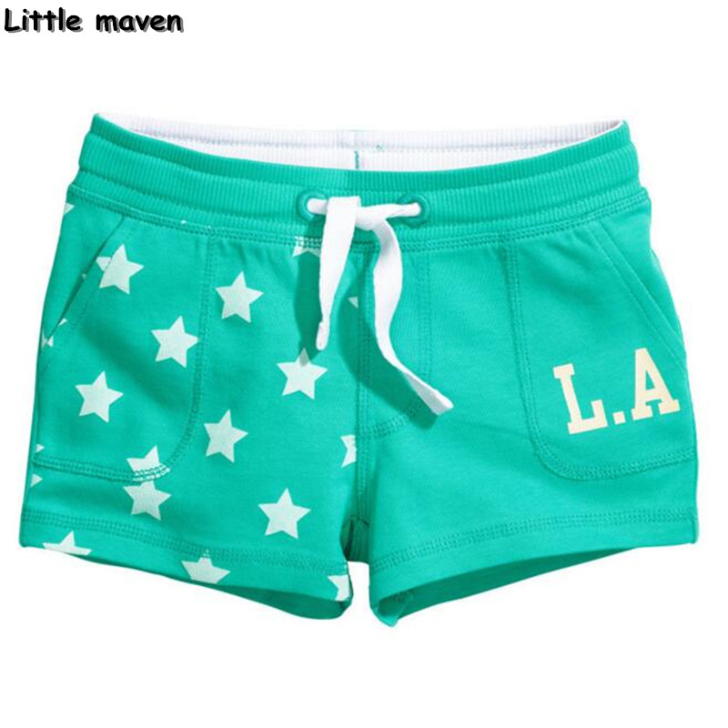 Little maven детские брендовые брюки 2017 Лето новая мода хлопок девушки шорты звезда печати письмо шорты 10031 #