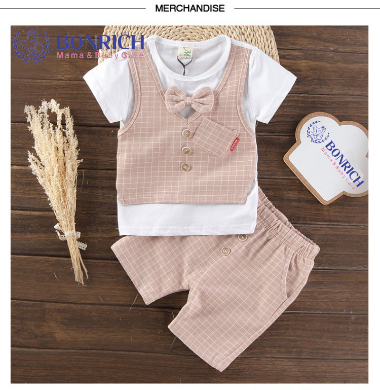 BONRICH 2017 new kids clothing set baby boy cotton t shirt short pants children set for summer boy stripe clothes fits 2 colors family fashion summer tops 2015 clothers short sleeve t shirt stripe navy style shirt clothes for mother dad and children