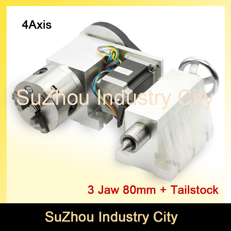 3 Jaw CNC 4th Axis / A axis 80mm chunk +Tailstock  dividing head/Rotation 6:1 A axis kit for Mini CNC router engraver engraving free shipping 3 7v lithium polymer battery 052025 502025 180mah mp3 mp4 mp5