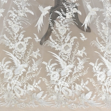 Ivory+Champagne color embroidered tulle mesh lace fabric with sequins! 2018 NEW Flying birds design women gown 1Yard