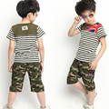 2016 Brand Summer Boy/Girl Sport Clothing Set Short Sleeve Striped T-Shirt+Camouflage Short Pants Summer School Clothes Set
