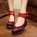 2016 Spring Woman Flower Embroidery Casual Shoes Women Canvas Footwear Increasing Ballerinas Old Peking Wedge Pumps SMYXHX-0019
