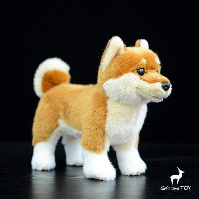 1 peça 28 cm Boneca Bonito Simular Estacionária Shiba Inu Japonês boneca de Pelúcia Brinquedo de Simulação de Animais cão bonito boneca bebê presente