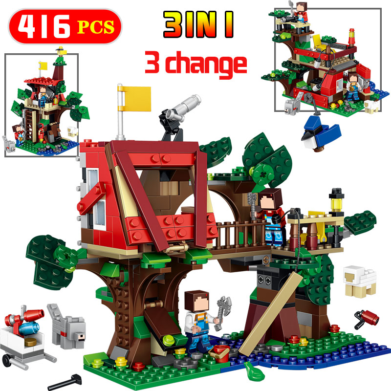 Tree House мой мир джунглей Модель Строительство Конструкторы legoinglys совместимый дизайн Приключения детей Игрушечные лошадки мир развивающие