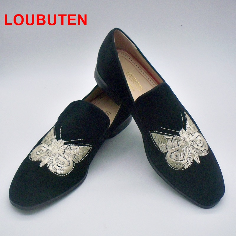 LOUBUTEN Fashion Black Suede Loafers With Big Embroidered Butterfly Handmade Slip On Leather Shoes Men Fashion Smoking Slippers