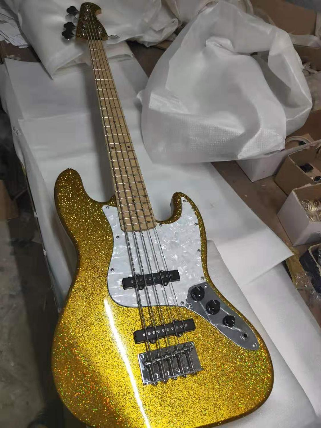 New customized 5string jazz electric bass, gold large grain 7 color silver paint, excellent stage effect,