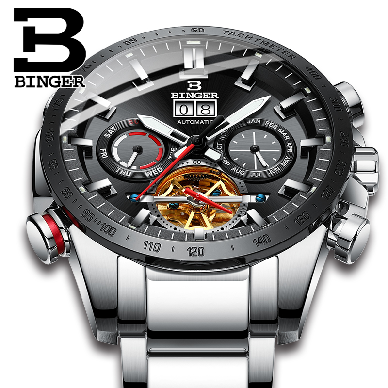 Switzerland Automatic Watch Men BINGER Mechanical Men Watches Fashion Brand Relogio Masculino Waterproof Stainless Steel 2018