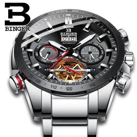 Marca de Moda Masculino à Prova Suíça Relógio Automático Binger Mecânica Relógios Masculinos Dwaterproof Água Aço Inoxidável 2020 Men