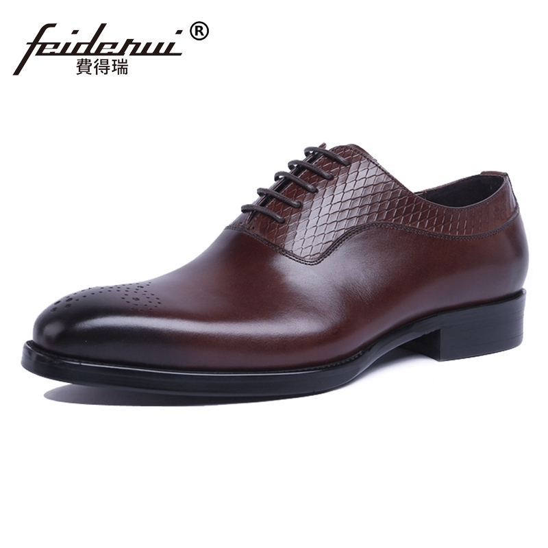 High Quality Carved Breathable Man Formal Dress Brogue Shoes Genuine Leather Round Toe Men