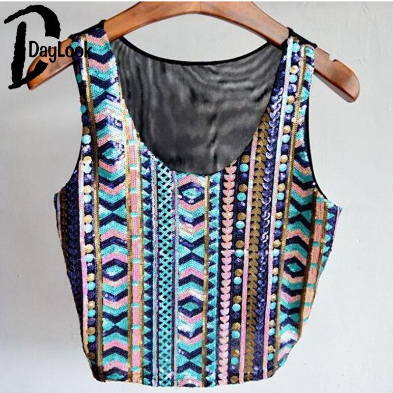 DayLook nuevo elegante mujer Crop Top Tribal estampado brillante Bling  lentejuelas camiseta Top fiesta Chaleco Corto camisola Mujer en Tank Tops  de La ropa ... 87ea217d9f20