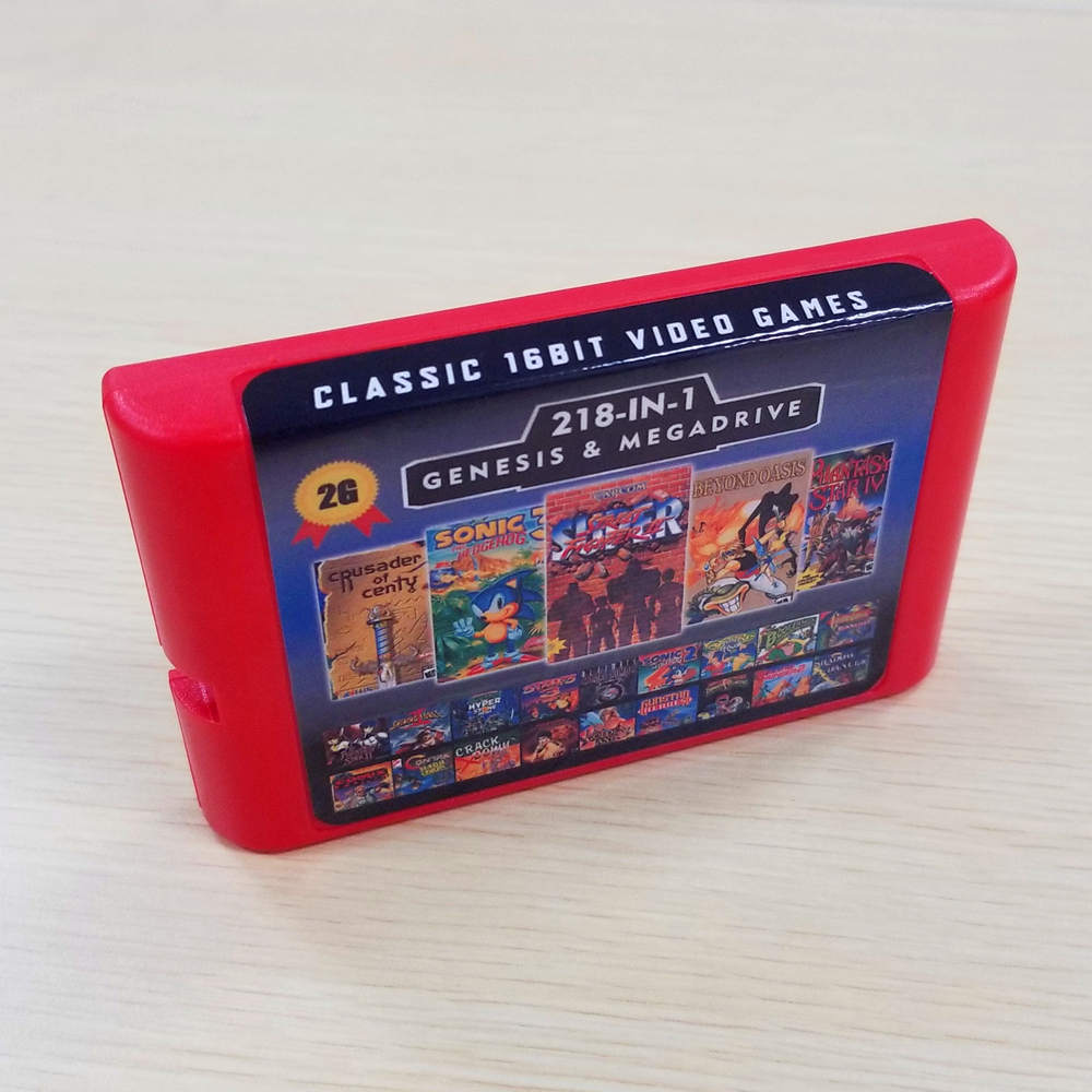 2G Capacity Battery Save 218 In 1 Game Card For Sega Megadrive Genesis With Shining Force II  Langrisser II Sonic The Hedgehog 3