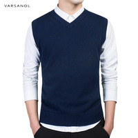 Varsanol Brand Clothing Pullover Sweater Men Autumn V Neck Slim Vest Classic Good Quality Regular Cotton