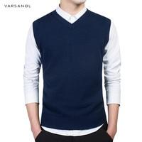 Varsanol Brand Clothing Pullover Sweater Men Autumn V Neck Slim Vest Classic Good Quality Regular Cotton