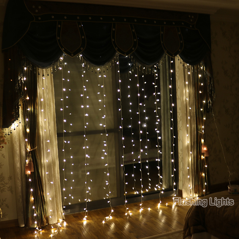 110 V/220 V 3x3 M 300LED Outdoor Christmas Decorative di natale String Fata Striscia Tenda Garland Partito luci Per Le Decorazioni di Nozze