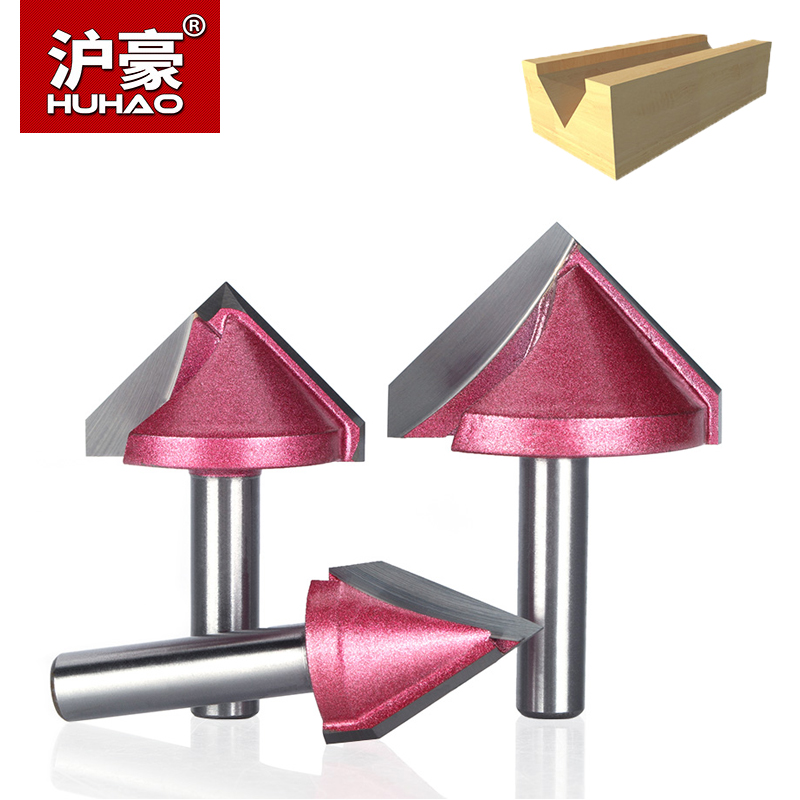HUHAO 1pc Shank 8mm V Type Slotting Cutter Router Bits For Wood Tungsten 3D Woodworking Trimming Cutter For Acrylic MDF PVC Wood