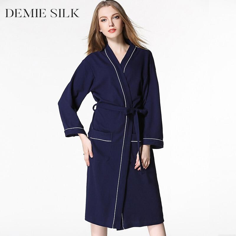 Demiesilk mujeres túnicas de algodón ropa de dormir albornoces de - Ropa de mujer