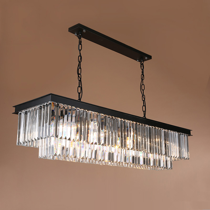 Best Price American Country Crystal Chandelier Dining Room Creative Rectangular Crystal Pendant Lamp LED Lighting RH Chandelier m best price 55cm nordic minimalist crystal lamp drops e14 led lamp lighting american retro aisle dining room iron chandelier